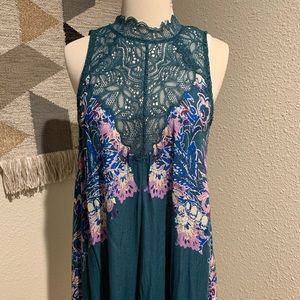 Free People Top with lace in Deep teal